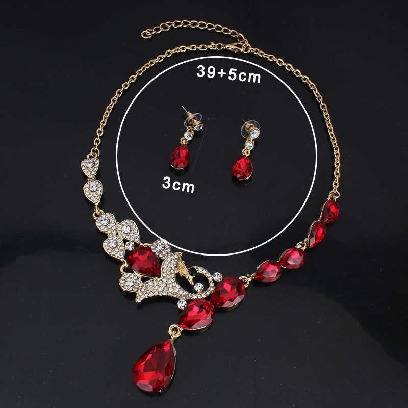 Jiayijiaduo Bridal Pernikahan Perhiasan Set/Peacock Kalung Anting-Anting Set untuk Wanita Mulia 'S Jewelry/3 Warna Ne + EA