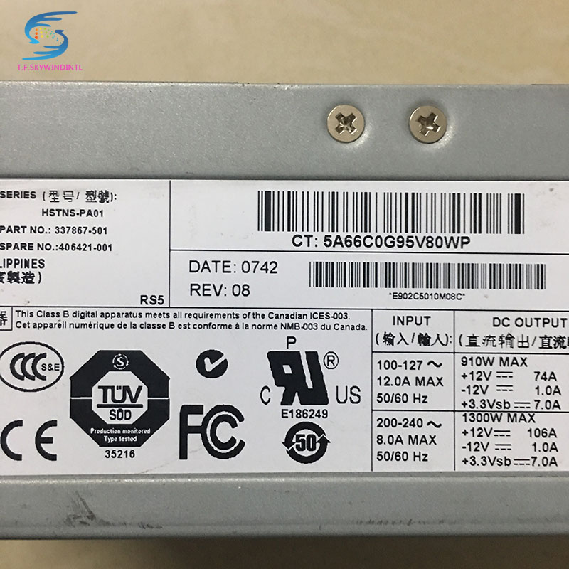 free ship ,1300w server power supply 406421-001 337867-501 for  DL580G3 580G4 ML570G3/570G4