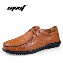 Cuero de Grano completo de los hombres zapatos de los hombres hechos a mano zapatos de los planos, holgazanes de los hombres de calidad Superior, Plus tamaño de Encaje hasta zapatos casuales