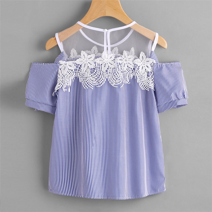 New Style Women Blouse Short Sleeve Off Shoulder Lace Striped Casual Tops Sexy Fashion Hot Sales Blouse Wolovey#15 blouse