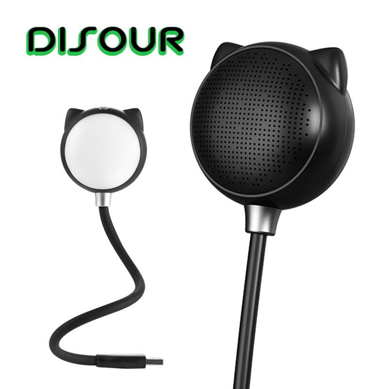 DISOUR Mini <font><b>Bluetooth</b></font> <font><b>Speaker</b></font> Wireless USB Interface with Touch Adjustable LED Light Cartoon Subwoofer Small Sound Night Light image
