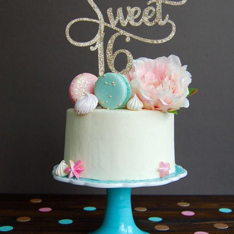 Lychee 2pcs Sweet 16 Glitter Cake Topper Happy 16th Birthday Party