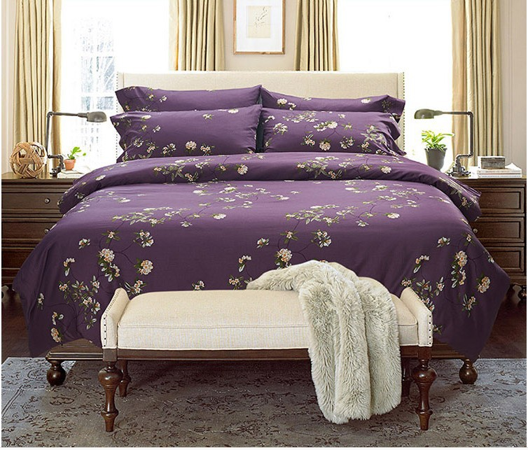 Egyptian Cotton Bed Sheets Purple