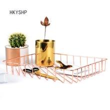 Hkyshp Творческий A4 ковкое железо Металл Золотая корзина для хранения розовое золото журнал оформление рабочего стола корзина школьные канцелярские принадлежности