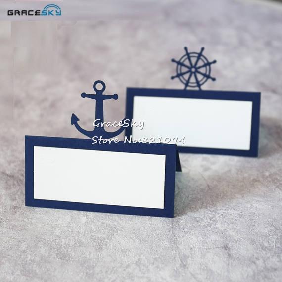 50 stücke Geben Verschiffen Laser Cut Nautical Anchor Schiff Rad zelt Papier Ort Name Sitz Hochzeit Einladung Tisch Karte Hochzeit party|Party-DIY-Dekorationen|   -