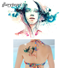 1 PC Colorful Drawing Temporary Tattoo Beauty Women Body Chest Art Belle Decal KM-001 Sexy Water Transfer Tattoo Sticker Product