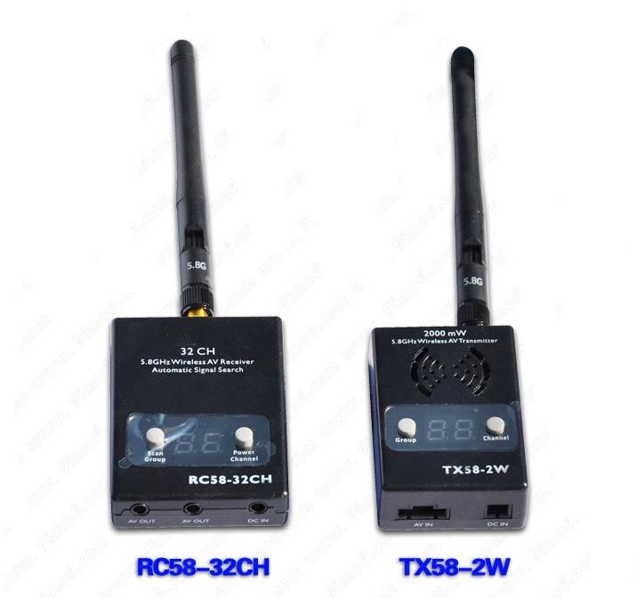 Boscam 5.8G 2w FPV Wireless AV Transmitter & Receiver 2000mw TX58-2W+RC58-32CH drone boscam 5 8g 2w fpv wireless av transmitter