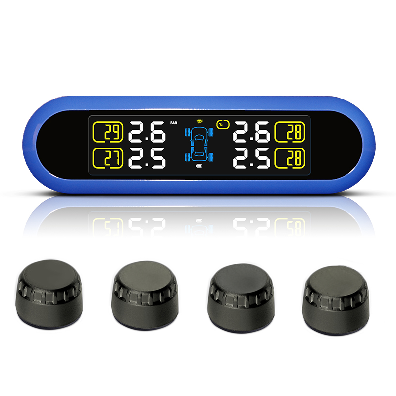 New Car DIY TPMS Wireless Tire Pressure Monitor System LCD Display With 4 External Sensor tpms tp620 car tire tire pressure alarm car tire diagnostic tool support bar and psi tire pressure monitor car electronics