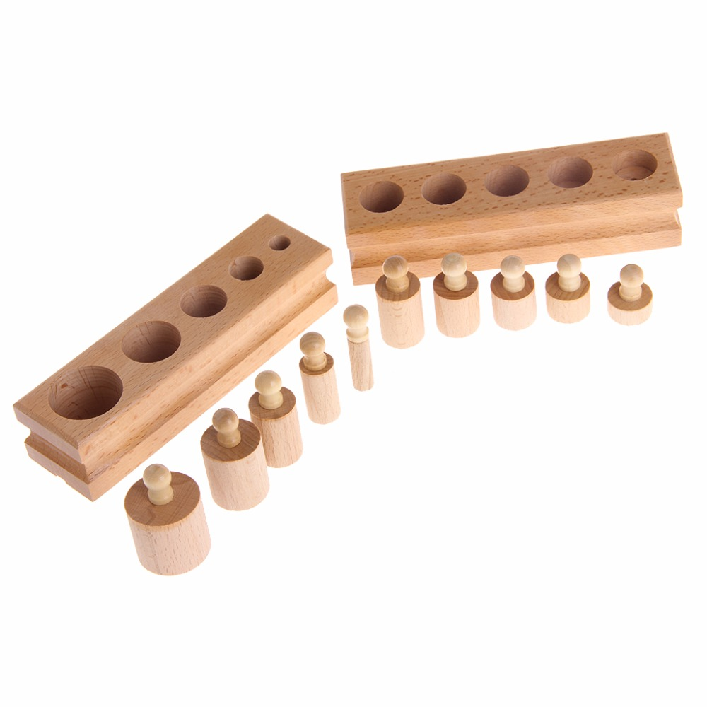4Pcs Set Educational Wooden Kid Montessori Math Cylinder Socket Early Learning Development Teaching Toy Gift in Blocks from Toys Hobbies