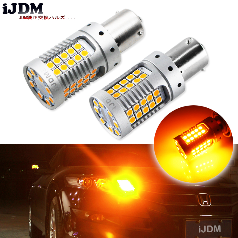 iJDM 4pcs Canbus Error Free BAU15S LED No Hyper Flash Amber Yellow 48-SMD 3030 LED 7507 PY21W LED Bulbs For Turn Signal Lights