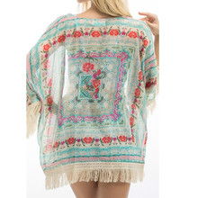 hirigin Women Ladies Summer New Boho Hippie Tassels Shawl Top Floral Kimono Loose Blouse Cape Cardigan blouse women femme(China)