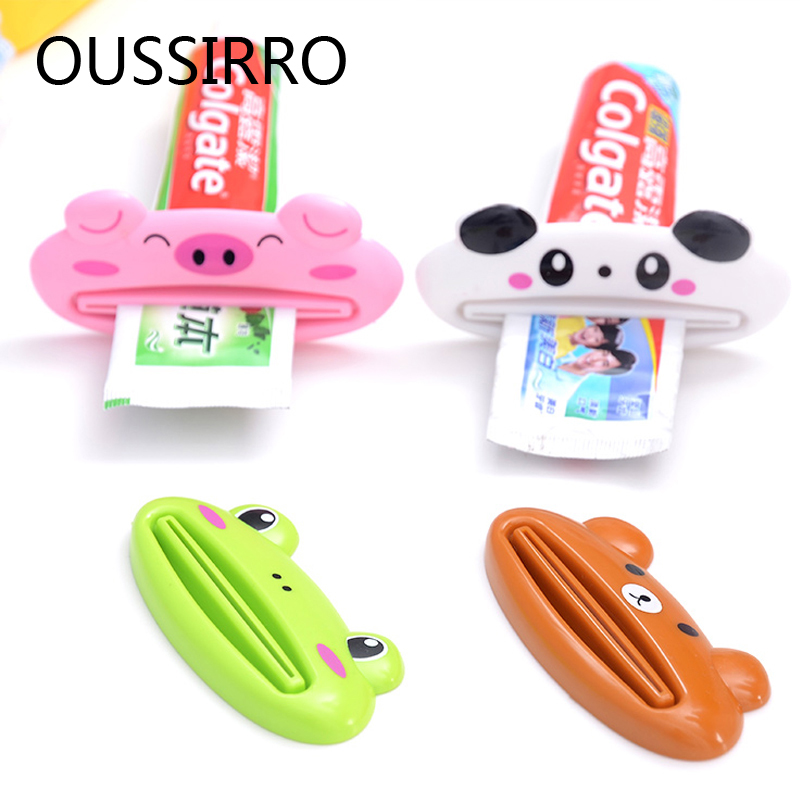 2Pcs Cartoon Tube Roll Holder Dispenser Toothpaste Squeezer Press Tube Dentifrice Dispenser Kitchen Bathroom Accessories