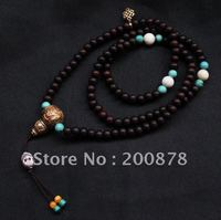 BRO688 Tibetan 108 Beads Red Sandalwood Prayer Mala 6mm Conch Shell Endless Knots Maulet Rosary Braclelet