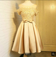 Beautiful real picture a line gold lace appliques homecoming dress sexy off the shoulder short homecoming gowns open back dress