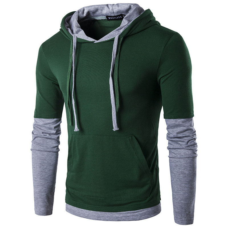 2018 Autumn and Winter mens T-shirt Brand Clothing Stitching Long Sleeve t shirt men Popular Hooded Stitching