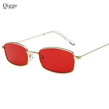 3dd4d63e39 Qigge Vintage Sunglasses mujeres hombres rectángulo gafas de sol marca  diseñador pequeño Retro sombras rojo amarillo lente UV400