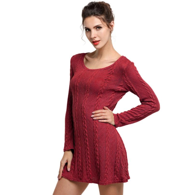 Long Sleeve Slim Sweater Dress Casual Knitted Sweater Mini Dress Women Ladies Crewneck Jumper Shirts Women 2018 Ropa Mujer #20