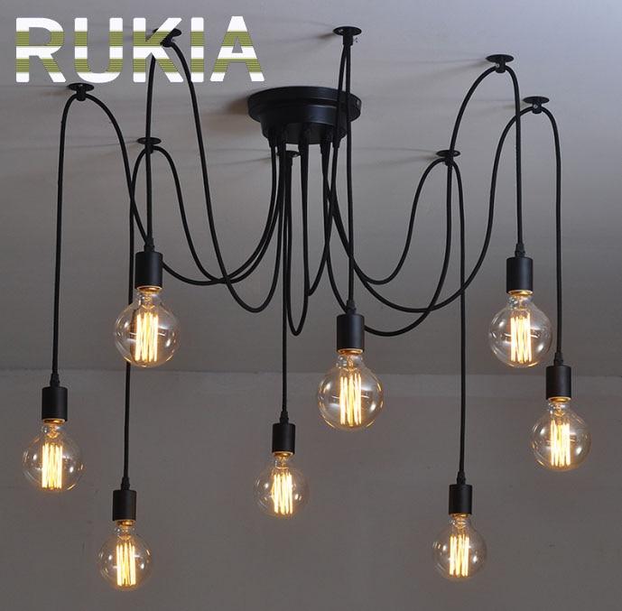 ФОТО RUKIA Modern Vintage Pendant Lights Spider Industrial Light 6 8 arms Loft Antique Adjustable DIY E27 Nordic Retro Edison Bulb