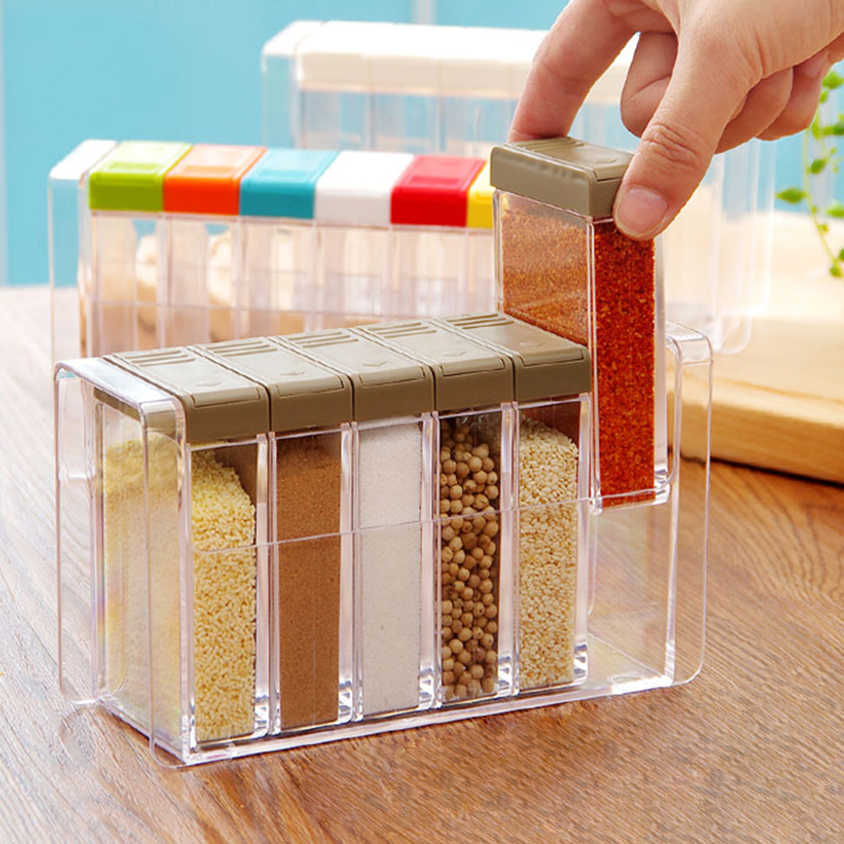 Clear Seasoning Rack Spice Pots 6 Piece Acrylic Seasoning Box Storage Container Condiment Jars Kitchen Accessories