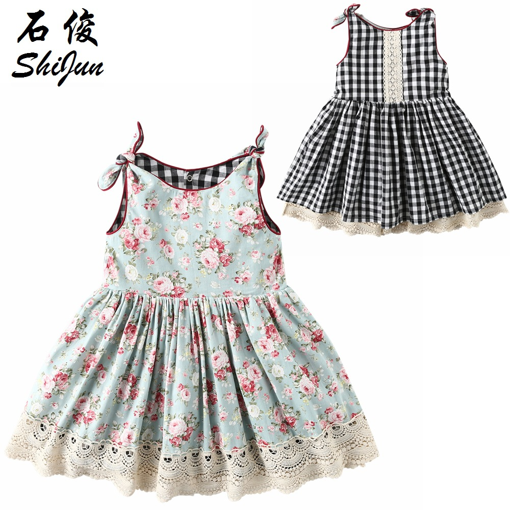 Baby Girls Princess Floral Print Dress Can Double sided Wear Plaid Dresses 1 7kg 85