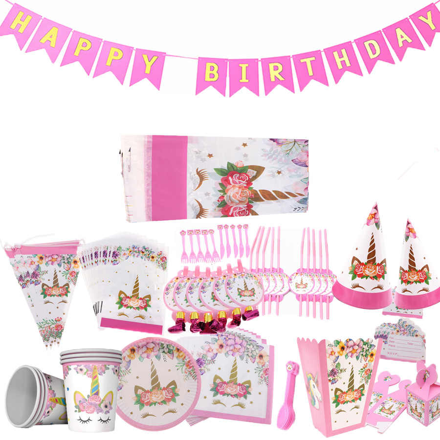 Unicorn Party Supplies Pink Theme ผ้ากันเปื้อนแผ่นถ้วยฝักบัวอาบน้ำเด็กเทศกาลชุดสำหรับสาวครัวอุปกรณ์เสริม