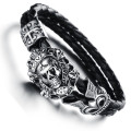10PCS/lot Men vintage jewelry steam punk skull leather bracelet hand woven bangle in black fashion items wholesale
