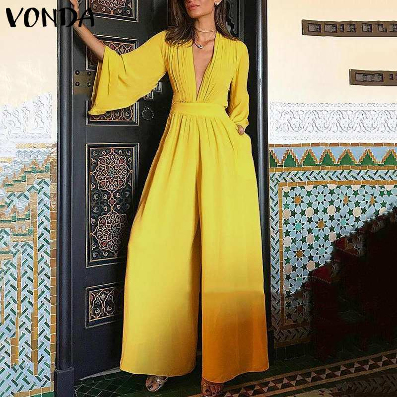 VONDA Plus Size Women   Jumpsuit   Sexy Romper 2019 Casual 3/4 Flare Sleeve V Neck Party Playsuit Wide Leg Pant Vintage Overalls