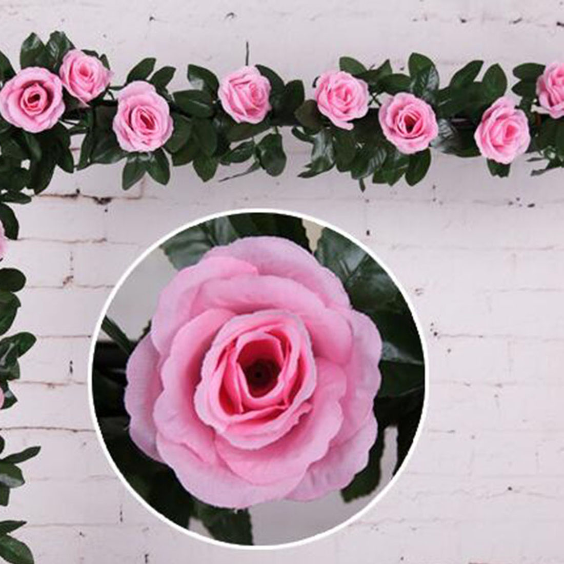 Floral Artificial Silk Flowers Fabric Fake Rose 9pcs Heads Crystal Flower  Bunch Home Wedding Garden Party