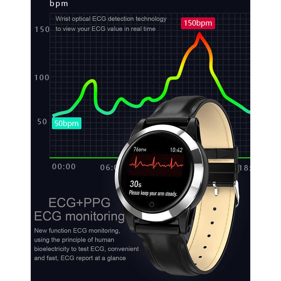 Smart Watch Gelang PPG EKG Pengukuran IP68 Silikon Tahan Air Sabuk Kulit Sabuk Pria Wanita Kebugaran Olahraga Tracker