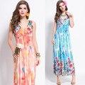 Vestidos 2016 Новый Богемной Платье Женская Мода Лето Пят Цветочный Принт Повседневная Длиной Макси Boho Пляж Платья Сарафан