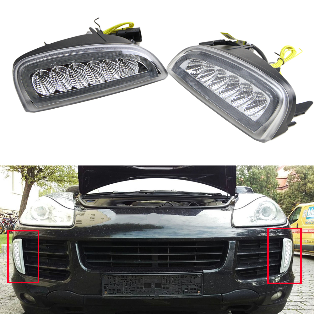2x e4 r87 led daytime running lights drl case for porsche cayenne 2008 2010 with