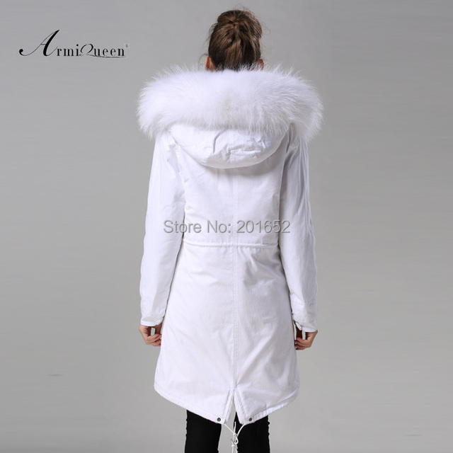 New Fashion Warm Women Slim Long canvas Jacket Fur Collar Parka white long coat with mrs fur lined Winter Coat Factory Price 6