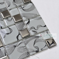 gray color stainless glass mixed silver metal mosaic tile for kitchen backsplash bathroom shower tiles swimming pool mosaic