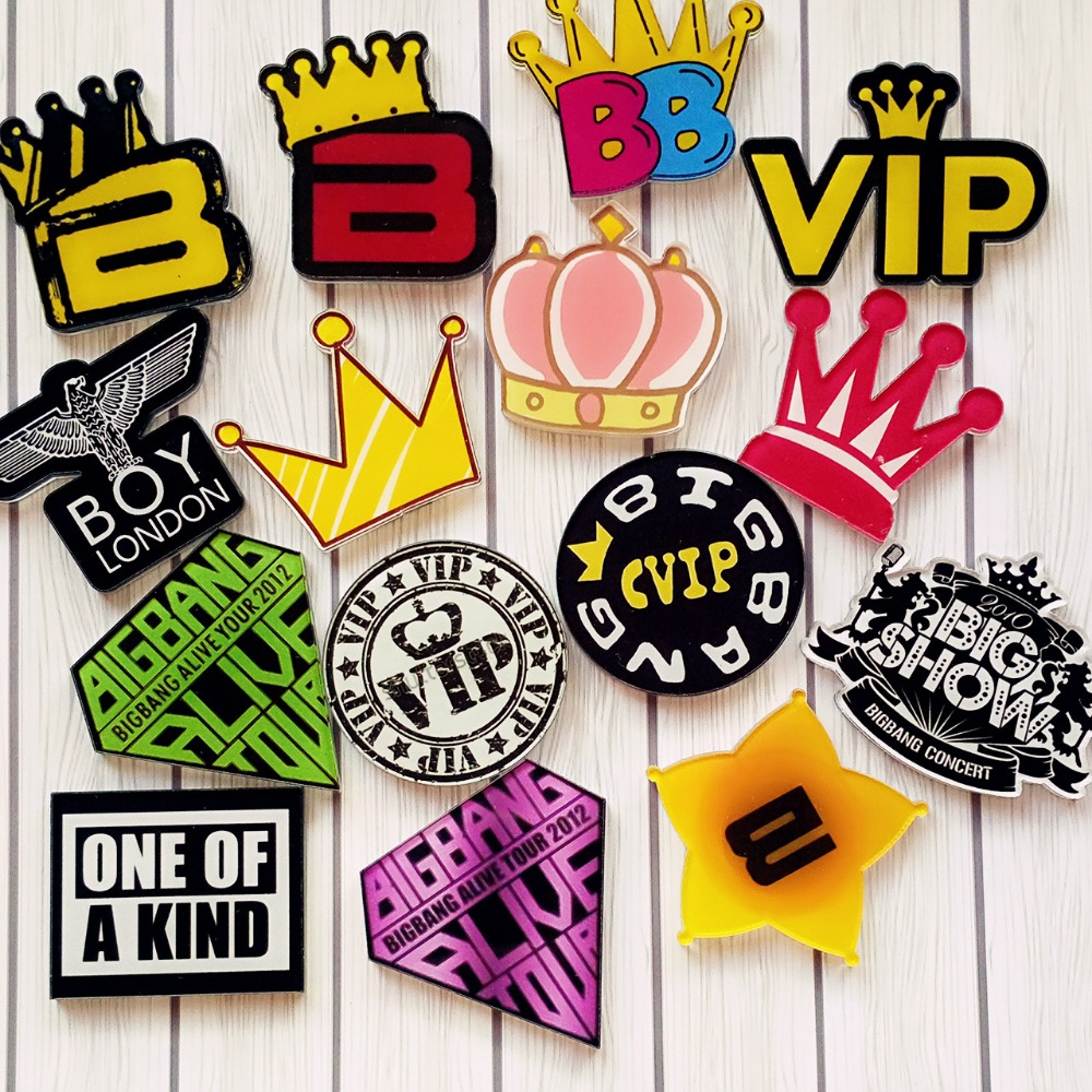 4y4a 5pcs/lot Cute Cartoon Acrylic Vip Crown Badge Brooch Pin Responsible