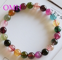 OMH wholesale 7.25 8.25mm IFull of vitality Colorful real Pure natural round Top level tourmaline beads bracelet PJ404 DHL free