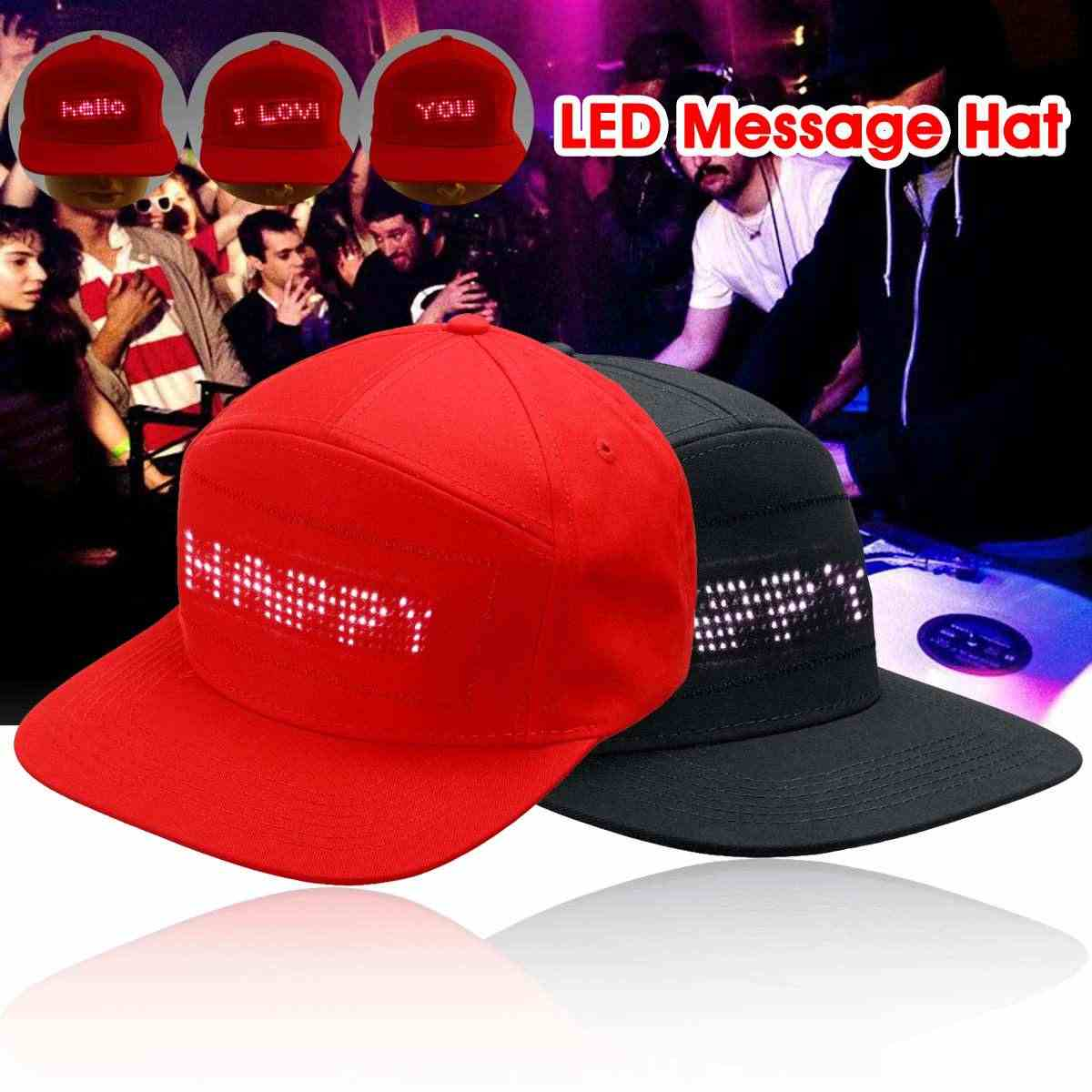 Red/Black LED Scrolling Message Hat Festival Party Stage Performance Parade Golf Fishing Hip-pop Cap Display Board Baseball Caps