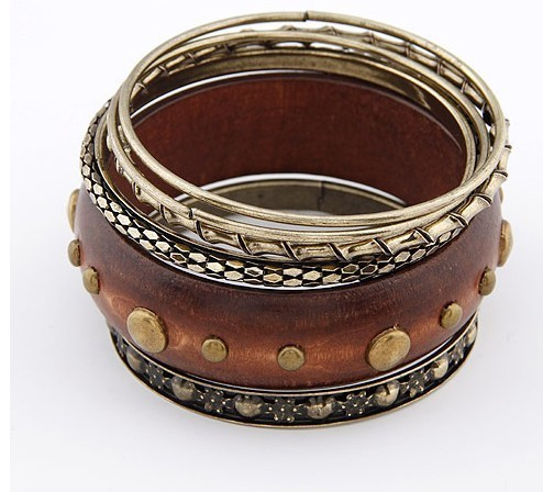 Min Order is $15  No Charge Shipping   New Natural With Brass Circle Bangle Sets Bracelet  Fashion Jewelry for Lady