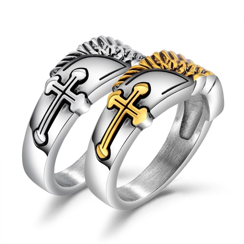 Trendy Cross Stylish Men's Ring Prayer Male Jewelry Stainless Steel Angel Wings Ring Size7 ~12