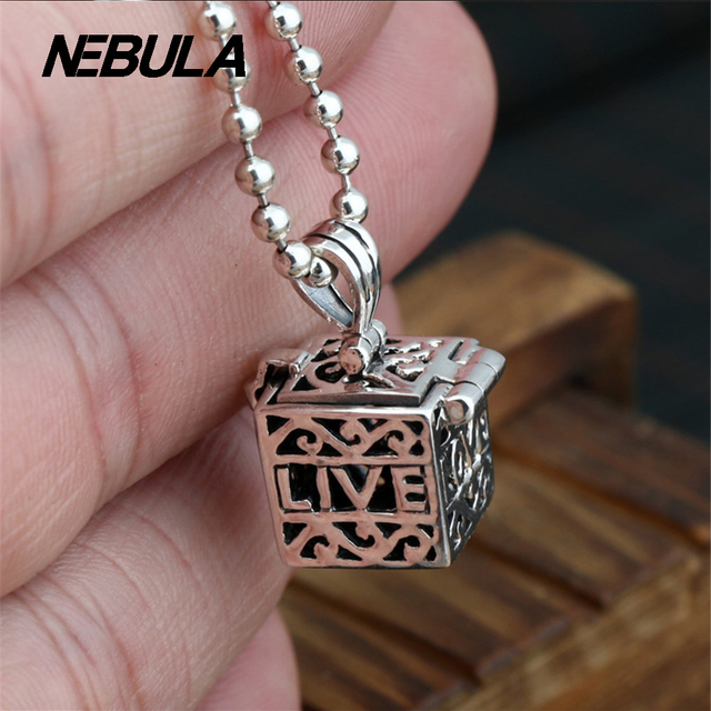 100% Real 925 Sterling Silver Openwork Vintage Square treasure chest Pendant Necklace Jewelry For Men Or Wonmen Punk Thai Silver