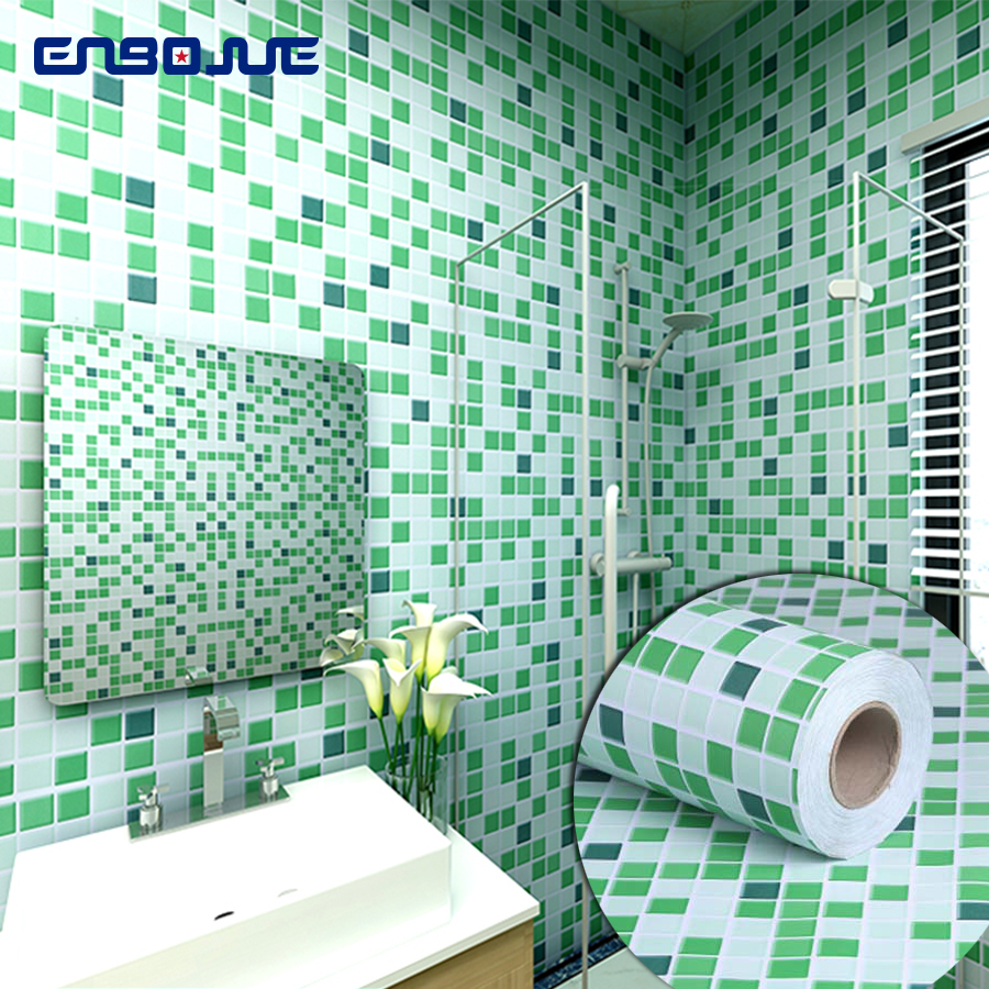 Bathroom Stickers Waterproof Wall Stickers Kitchen Toilet Decoration Wallpaper PVC Self Adhesive Wallpaper Tiles Decorative Film