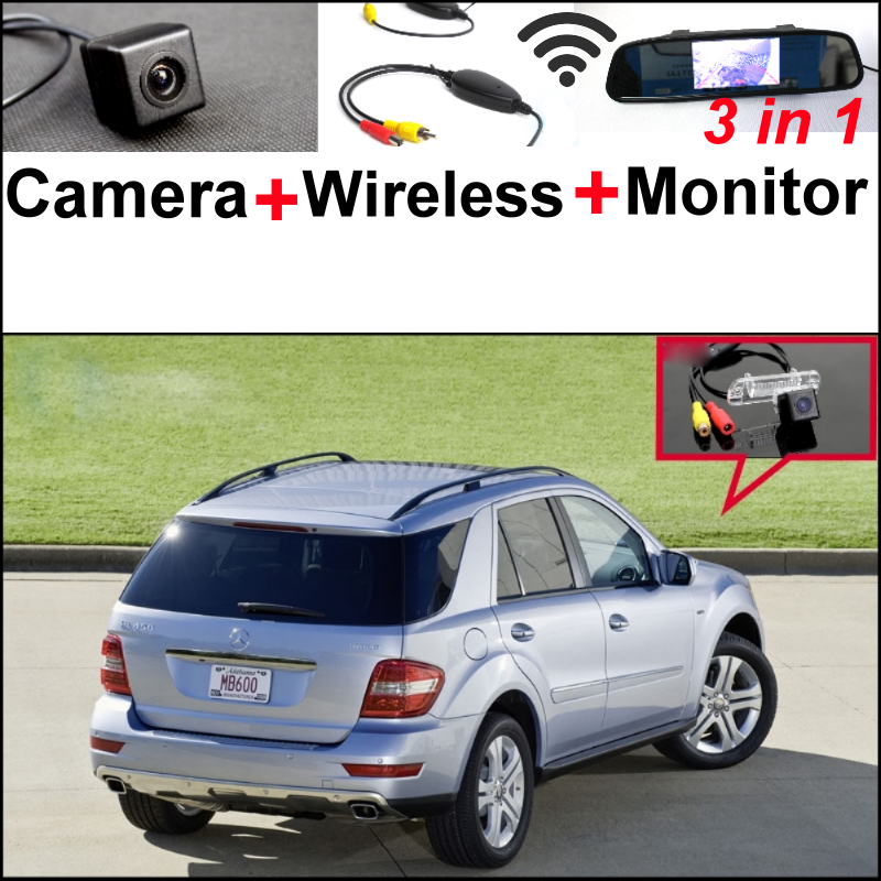 For Mercedes Benz ML450 ML350 ML300 ML250 ML63 3in1 Special WiFi Camera + Wireless Receiver + Mirror Monitor Parking System
