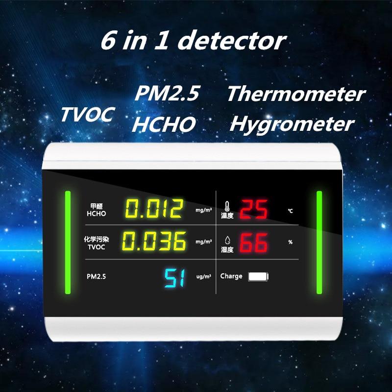 Formaldeide PM2.5 Monitor Termometro Igrometro TVOC HCHO Gas Rilevatore di Umidità di Temperatura del Tester Monitor di Qualità Dell'aria