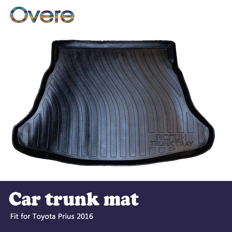 Overe 1Set Car Cargo rear trunk mat For Toyota Prius 2016 Car-styling Boot Liner Waterproof carpet Anti-slip mat Accessories