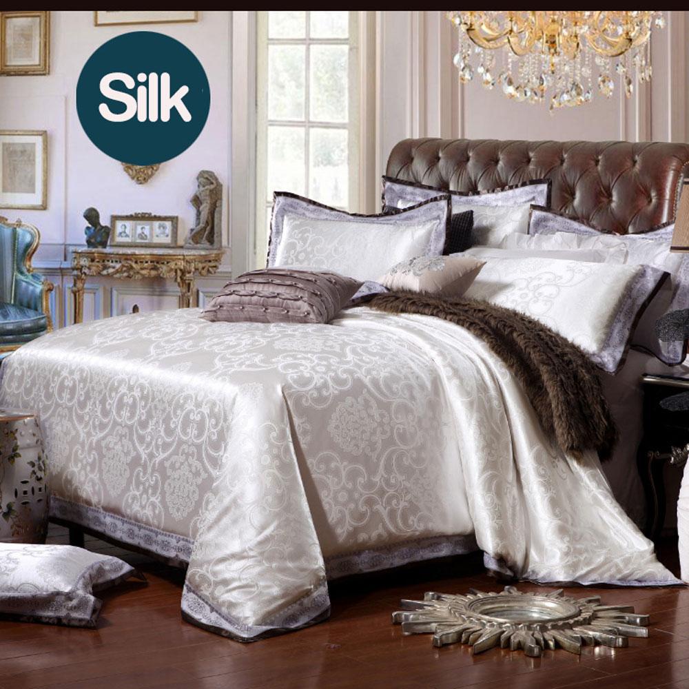 ᗜ LjഃCaliente blanco satén seda Bordado jacquard Ropa de cama ...