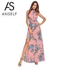 8d38332924fa Anself Vestido de Verão 2019 Verão Mulheres Praia Vestido com Estampa  Floral Vestido Longo Azul Rosa