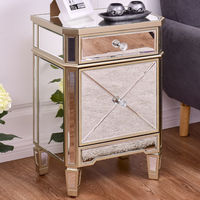 Giantex Modern Mirrored Nightstand Bedroom Storage Accent Cabinet Beside Table Chest with Drawer Luxury Home Furniture HW56407