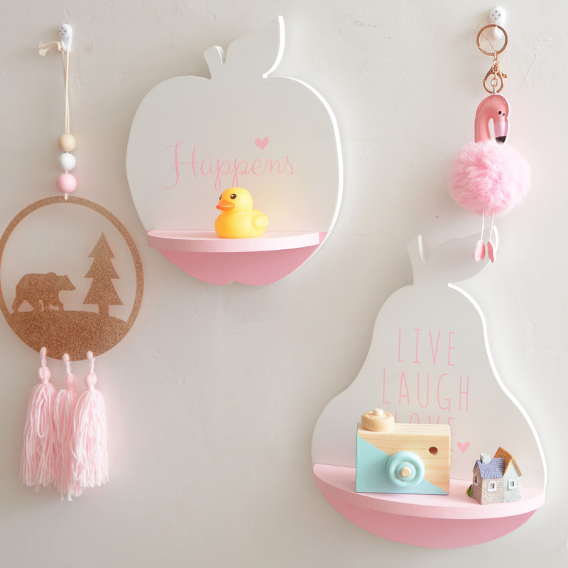 INS Solid Wood Fruit Shape Baby Room on Wall Simple and Creative Hanging Decorative for Kids Room Ornaments Storage Holders
