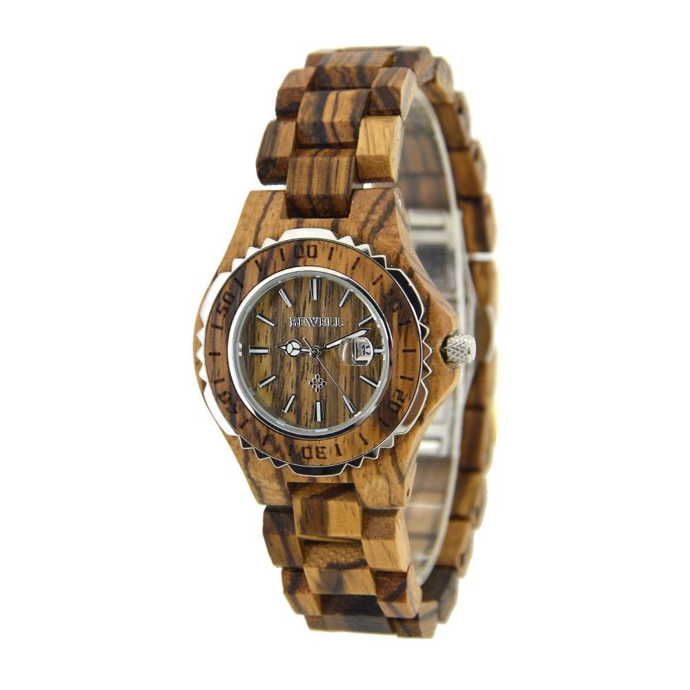 80dbf1b75cb33 √BEWELL 100BL ساعة خشب امرأة الكوارتز المعصم سيدة التقويم عرض ...