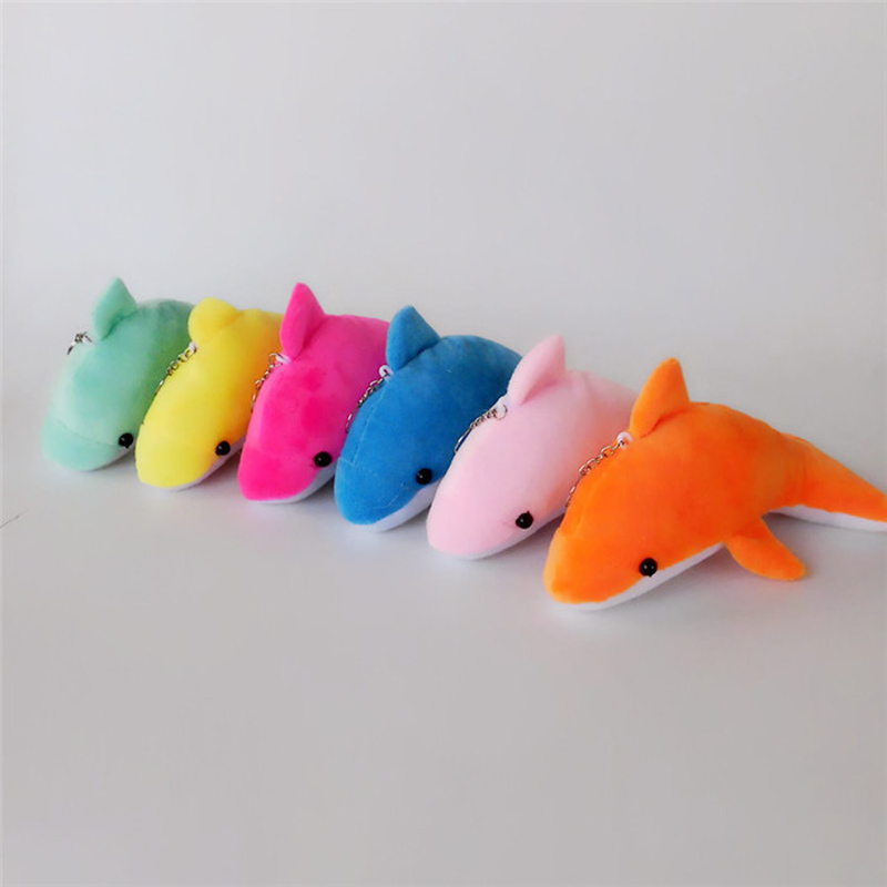 Cute Dolphin Plush Doll Keychain For Women Bag Charms Fluffy Pom Pom Whale Key Ring Holder Fish Trinket Party Wedding Gift