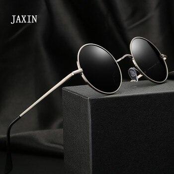 JAXIN Retro Round Sunglasses Men personality Fashion handsome Black Polarized Sun Glasses Mr brand design classic mirror UV400